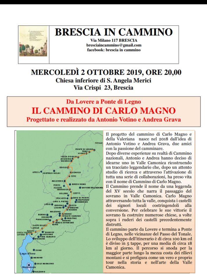 Evento Brescia In Cammino del 2 Ottobre 2019